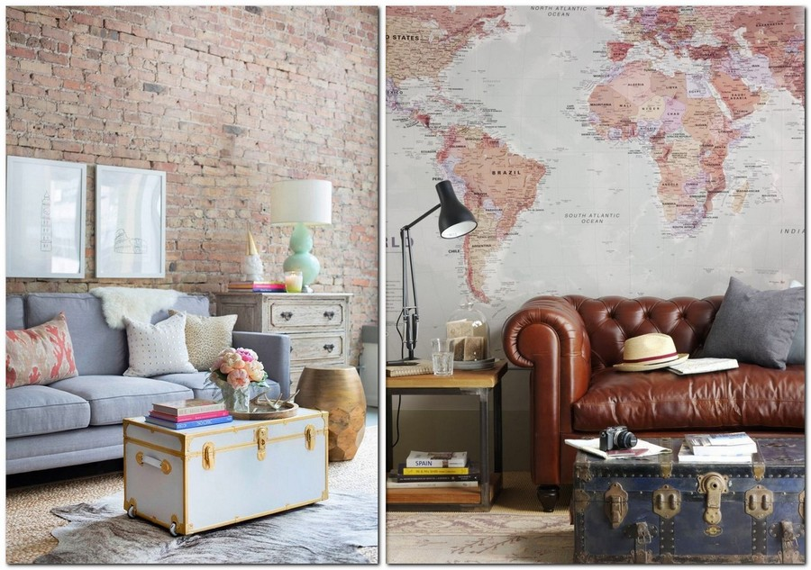 4-beautiful-cozy-living-room-interior-design-ideas-chest-re-used-as-a-coffee-table-vintage-world-map-wall-mural