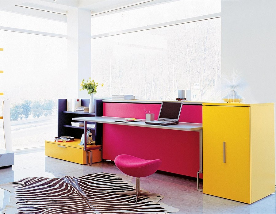5-2-1-multifunctional-furniture-for-small-apartments-ideas-transformable-bed-and-writing-desk-2-in-1-work-area-sleeping-place-yellow-pink-pop-art-style-folding