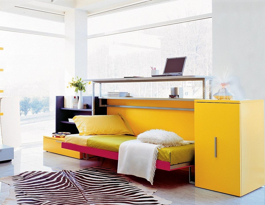 5-2-2-multifunctional-furniture-for-small-apartments-ideas-transformable-bed-and-writing-desk-2-in-1-work-area-sleeping-place-yellow-pink-pop-art-style-folding