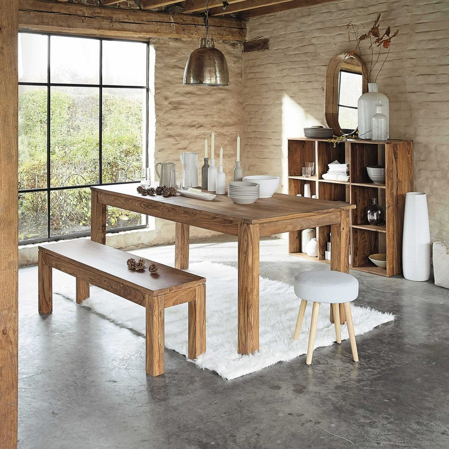 5-2-eco-style-kitchen-dining-bench-in-solid-sheesham-wood-from-by-Maison-du-Mondei-country-style-table-stool-faux-brick-walls-laconic-furniture-shelving-unit-mirror-rug-panoramic-window