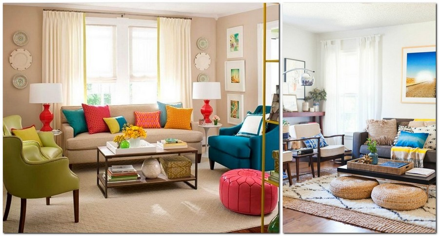5-beautiful-cozy-living-room-interior-design-ideas-multi-colored-bright-cheerful-beige-sofa-blue-and-green-arm-chairs-red-ottoman-light-symmetrical-table-lamps-coffee-table