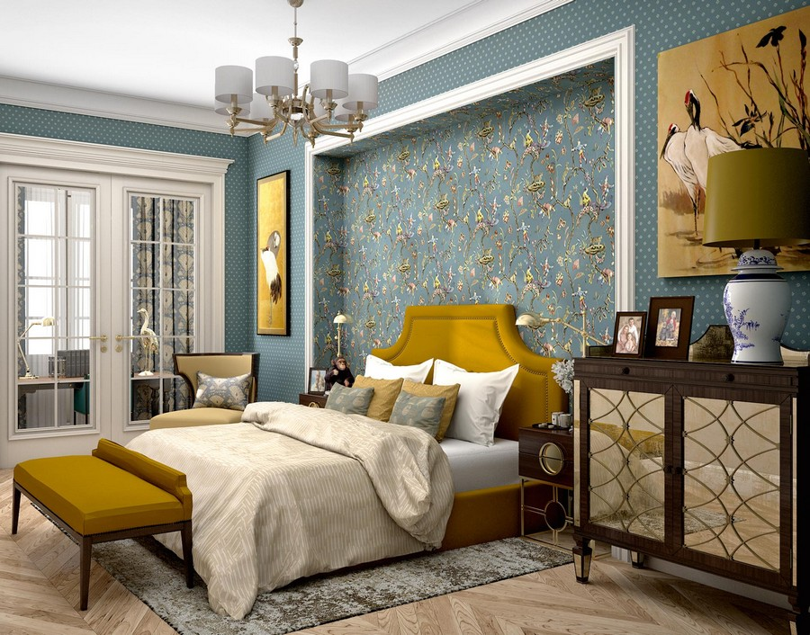 5-contemporary-neo-classical-interior-design-Ameerican-style-furniture-beige-blue-wallpaper-bedroom-mustard-yellow-accents-ottoman-upholstered-bed-mirrrored-cabinets-chest-of-drawers-arm-chair-lamp-wall-
