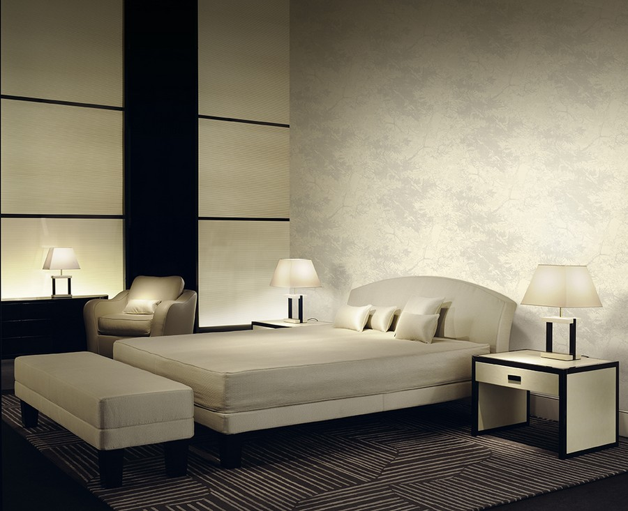 8-1-Giorgio-Armani-Casa-Graphic-Elements-luxurious-wall-covering-wallpaper-by-Jannelli-&-Volpi-Italian-design-in-interior-light-floral-motifs-naturalistic-pattern-bedroom-upholstered-bed-ottoman-bedside-tables-lamp