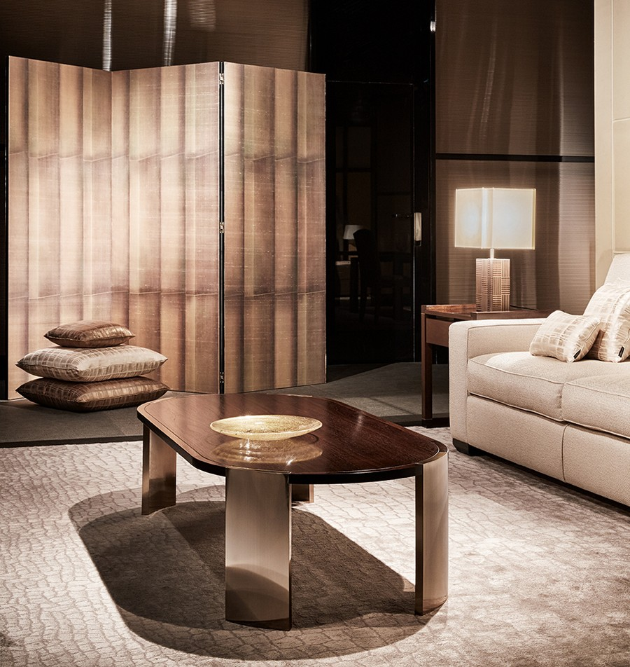 8-1-Giorgio-Armani-Casa-Precious-Fibers-luxurious-textile-wall-covering-wallpaper-by-Jannelli-&-Volpi-Italian-design-in-interior-screen-room-divider-living-room-table-lamp-coffee-table-carpeting-throw-pillows-sofa