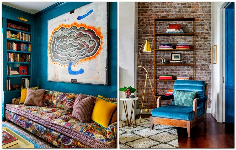 9-beautiful-cozy-living-room-interior-design-ideas-oriental-style-sofa-upholstery-ethnic-motifs-big-wall-art-bookshelves-faux-brick-wall-velvet-blue-arm-chair