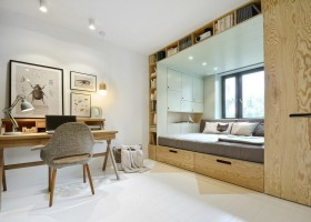 0-teenage-girl's-room-bedroom-interior-design-multifunctional-podium-bed-white-walls-plywood-veneer-furniture-gray-accents-writing-desk-chair-entomology-posters-built-in-shelves-wardrobe-storage-area-around-bed-box