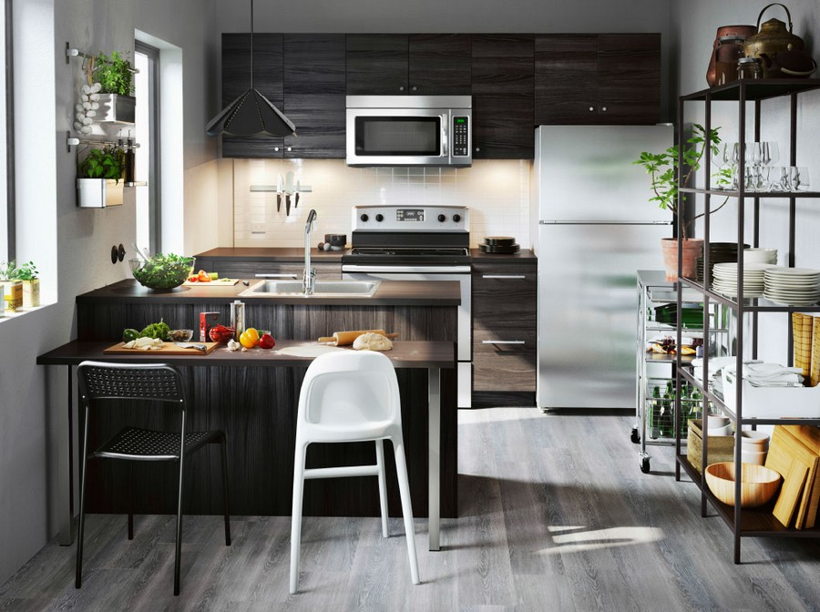 0-wooden-kitchen-set-by-the-window-island-bar-stools-white-stove-refrigerator-micrpwave-oven-open-metal-racks-serving-trolley