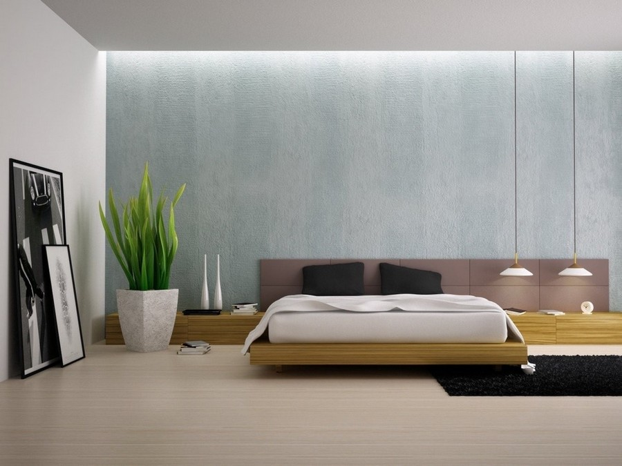1-1-minimalism-minimalist-style-interior-design-decor-white-walls-bedroom-long-elongated-headboard-gray-wall-pendant-lamps-big-indoor-plant-artwork