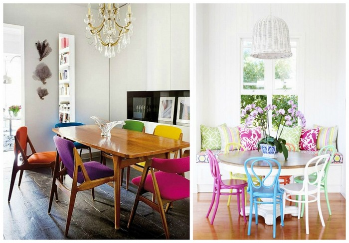 How to choose mismatched dining chairs tastefully 7 tips for Different color chairs