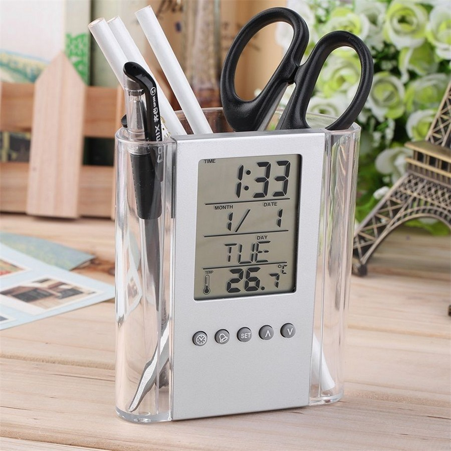 1-digital-clock-thermometer-desk-organizer-stationery-cup-transparent-plastic