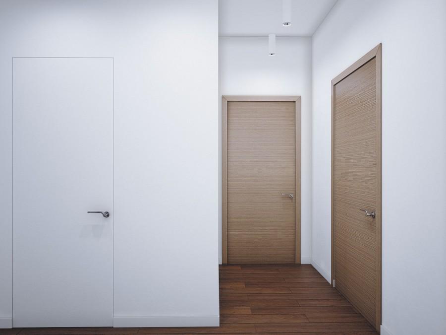 10-1-minimalist-style-corridor-interior-white-walls-invisible-door-wooden-doors-lights-parquet-floor