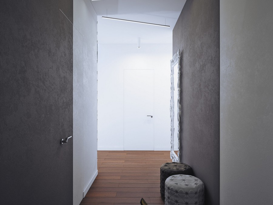 11-1-minimalist-style-corridor-hallway-mudroom-interior-white-walls-invisible-doors-parquet-floor-ottomans-padded-stools