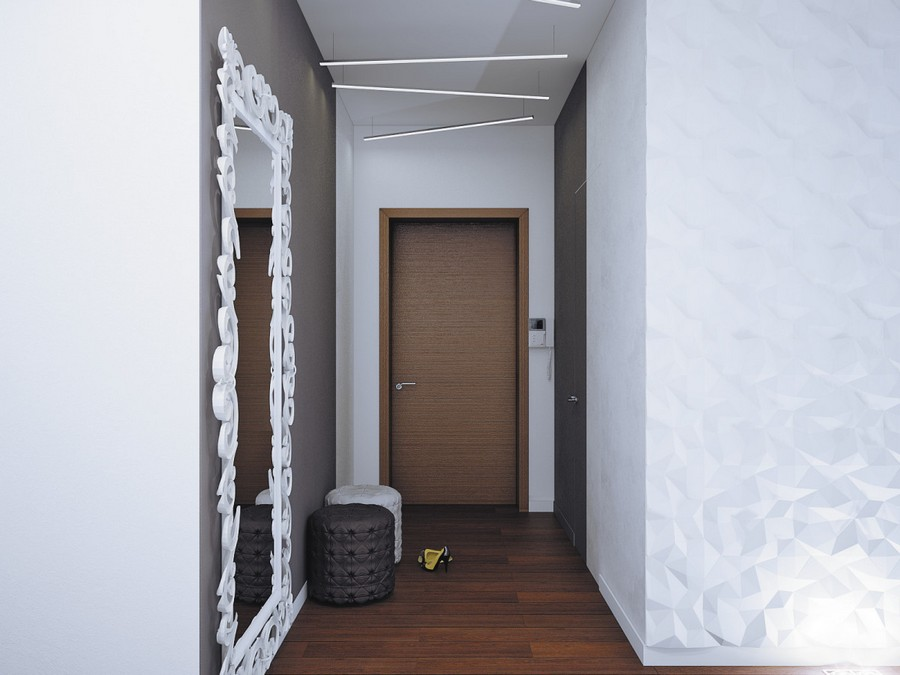 11-2-minimalist-contemporary-style-corridor-hallway-mudroom-entrance-hall-interior-white-3D-walls-door-asymmetrical-pendant-lights-parquet-floor-ottomans-padded-stools-full-length-mirror