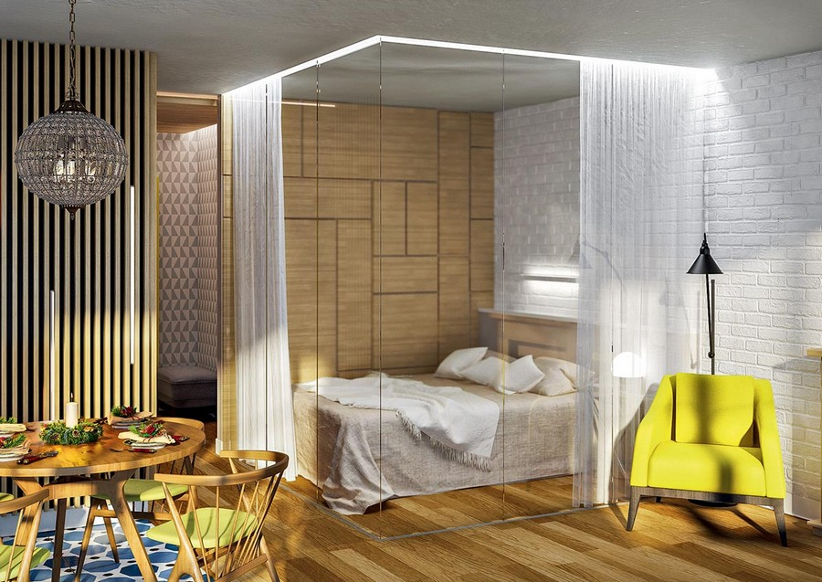 11-glass-room-divider-cube-with-sheer-curtains-curtained-bed-in-the-living-dining-room-yellow-arm-chair-floor-lamp-faux-brick-wall-tiles-wooden-round-dining-table-wooden-planks-partition