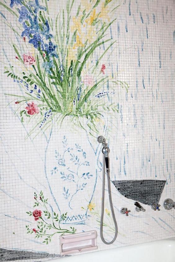 12-Italian-villa-interior-design-by-Osvaldo-Borsani-bathroom-shower-white-mosaic-wall-tiles-with-painted-flowers-floral-pattern