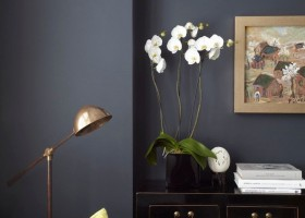 13-black-walls-black-walled-room-in-interior-design-antique-chest-of-drawers-living-room-light-gray-sofa-yellow-accents-orchid