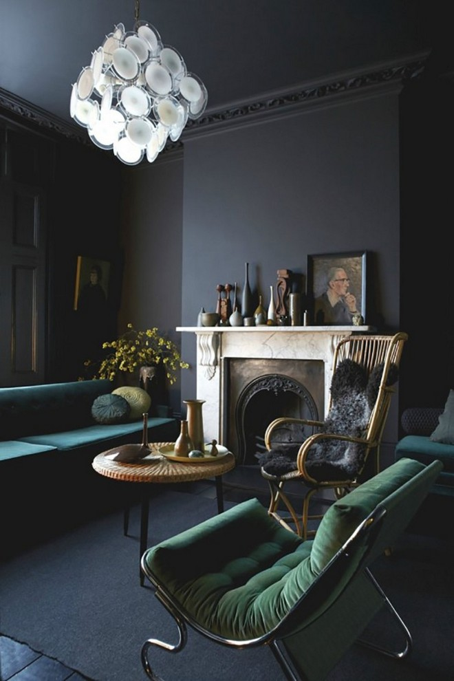 15-black-walls-black-walled-room-in-interior-design-gothic-style-black-ceiling-fireplace-dark-green-velvet-sofa-arm-chair-blue-white-chandelier