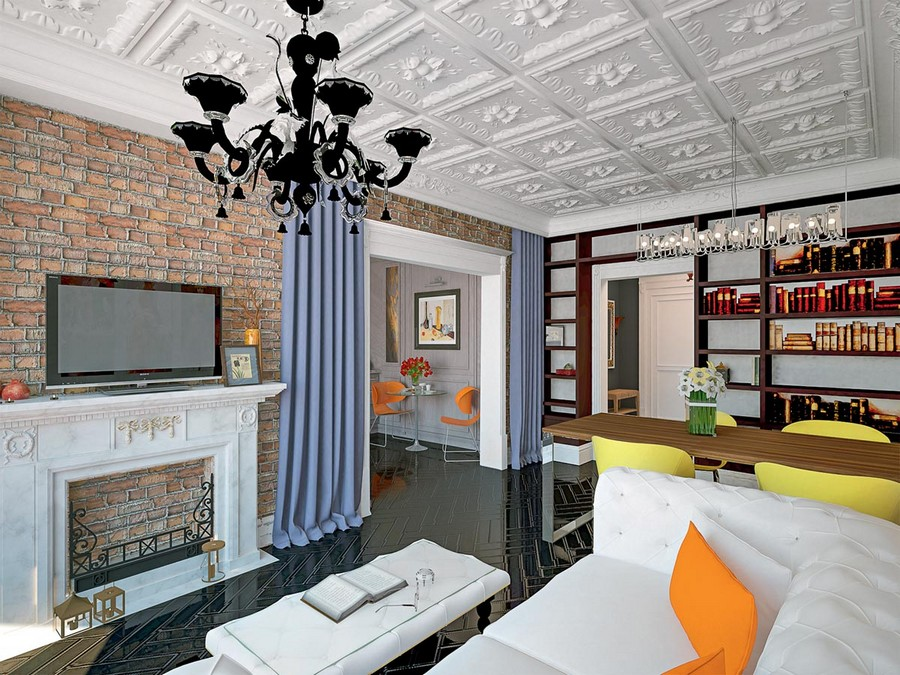15-eclectic-style-living-room-faux-brick-wall-tiles-plaster-ceiling-blue-curtains-in-the-doorway-shelving-unit-white-sofa-faux-fireplace-orange-accents-coffee-table-dining-area