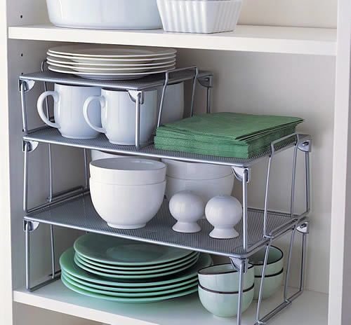 18-small-kitchen-storage-ideas-design-hacks-rational-space-extra-shelves-inside-bottom-cabinet-three-level-plate-organizer