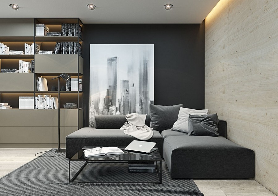 19-black-walls-black-walled-room-in-interior-design-wooden-wall-contemporary-style-living-room-gray-corner-cofa-shelving-unit-modular-shelves-rug