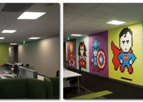 2-1-creative-office-interior-ideas-pixel-style-wall-decor-from-sticky-notes-multicolor-super-heroes
