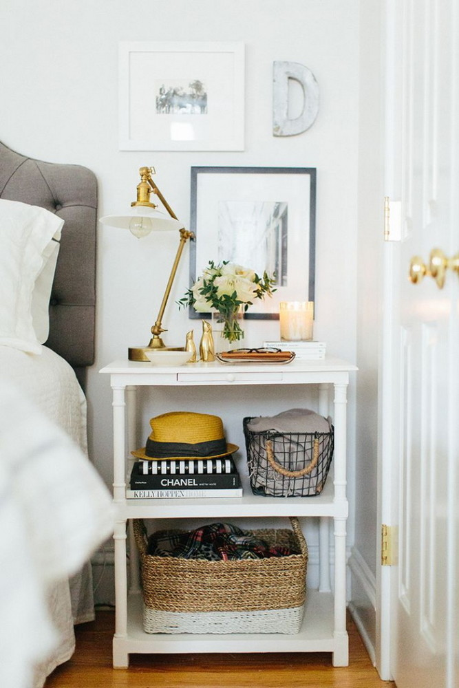 2-2-beautiful-stylish-nightstand-bedside-table-decor-flowers-books-vase-bowl-candles-brass-three-level-shelves-candle-picture-artwork-posters-in-bedroom-interior-design