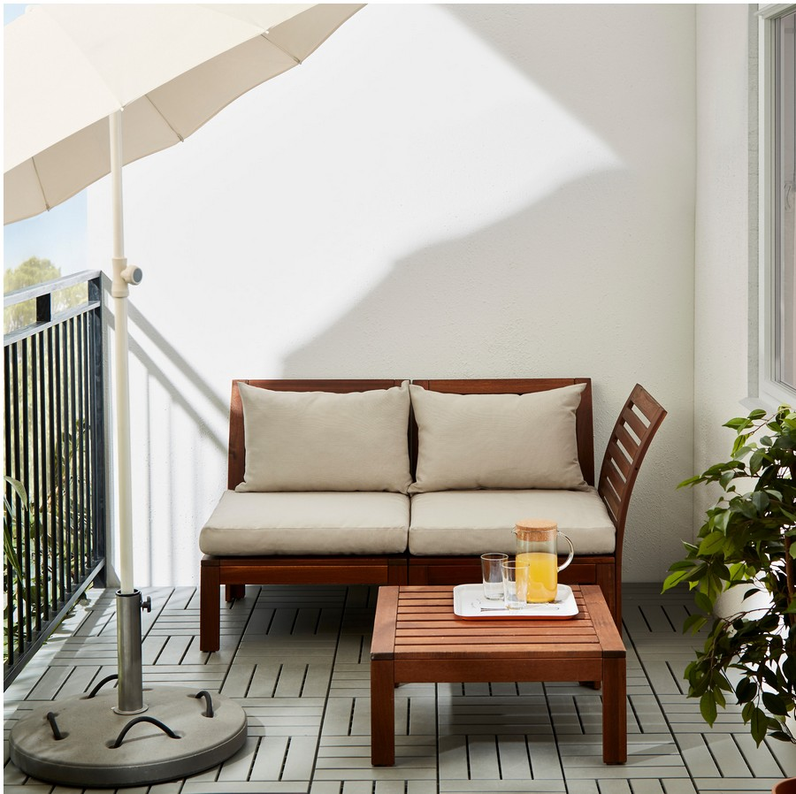 2-2-outdoor-two-seat-APPLARO-sofa-by-IKEA-natural-acacia-wood-garden-furniture-white-pillows-balcony-coffee-table-lounge-loveseat