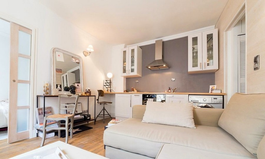 2-2-white-walls-beige-gray-caramel-brown-interior-design-in-French-style-Paris-studio-apartment-kitchen-living-room-boudoir-dressing-table-mirror-cabinets-sofa-sliding-door-cooker-hood-glass