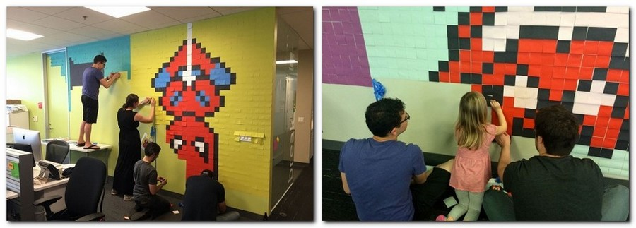 2-3-creative-office-interior-ideas-pixel-style-wall-decor-from-sticky-notes-multicolor-super-heroes