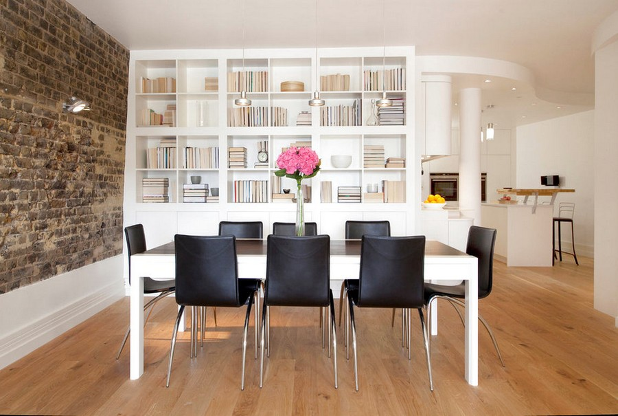2-4-shelves-decoration-of-bookshelves-decor-ideas-neat-overturned-fore-edges-minimalist-style-dining-room-black-chairs-white-table-faux-brick-wall