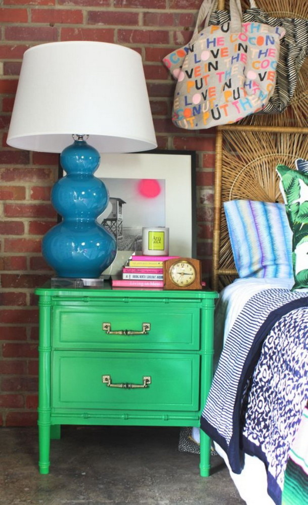 2-5-beautiful-stylish-nightstand-bedside-table-decor-flowers-books-vase-picture-artwork-clock-green-blue-brick-wall-in-bedroom-interior-design