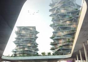 2-Cacti-Towers-project-3D-renders-in-Copenhagen-new-urban-IKEA-mall-hotel-Denmark-modern-architecture-unusual-buildings-hexagonal-balconies
