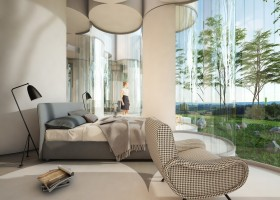 2-cylinder-house-by-Cyril-Lancelin-modular-residential-architecture-in-France-Lyon-open-plan-bedroom-forest-view-laconic-interior-gray-bed-floor-lamp-arm-chair