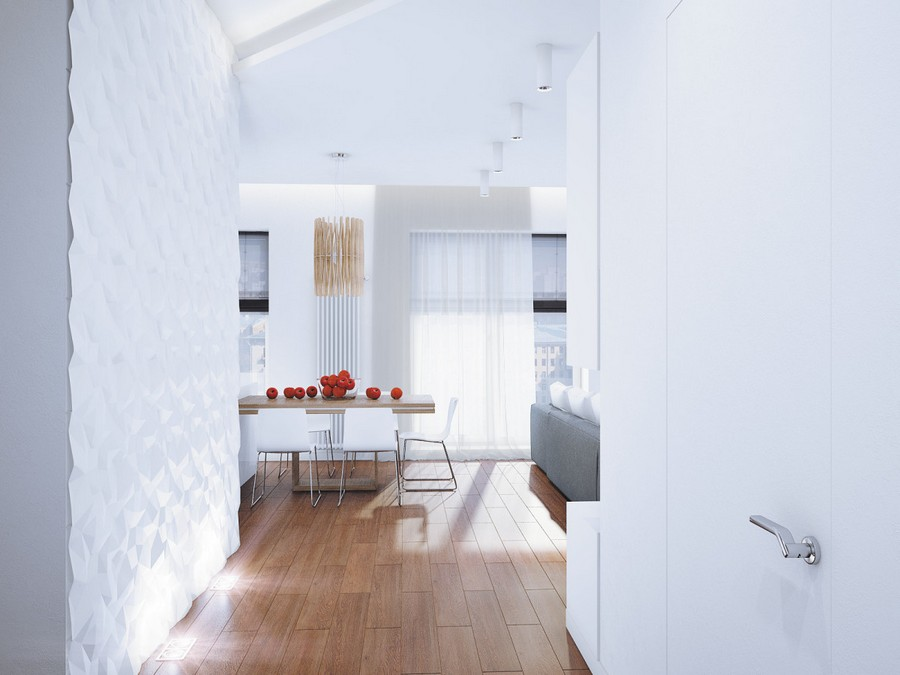 2-open-plan-minimalist-style-living-room-kitchen-dining-area-interior-white-3D-walls-invisible-door-panoramic-windows-corridor