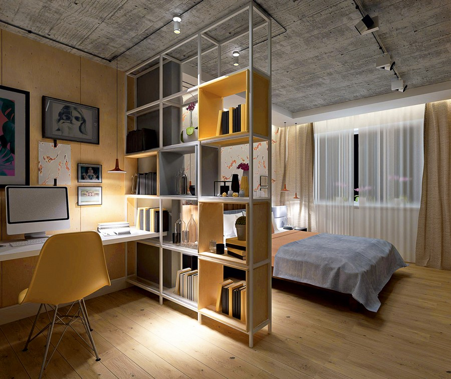 20-work-area-in-the-bedroom-open-double-sided-shelving-unit-room-divider-white-sheer-curtains-pale-yellow-wall-computer-desk-books-parquet-floor