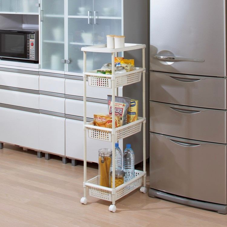 21-small-kitchen-storage-ideas-design-hacks-rational-space-extrs-narrow-serving-trolley-cart-white-four-level