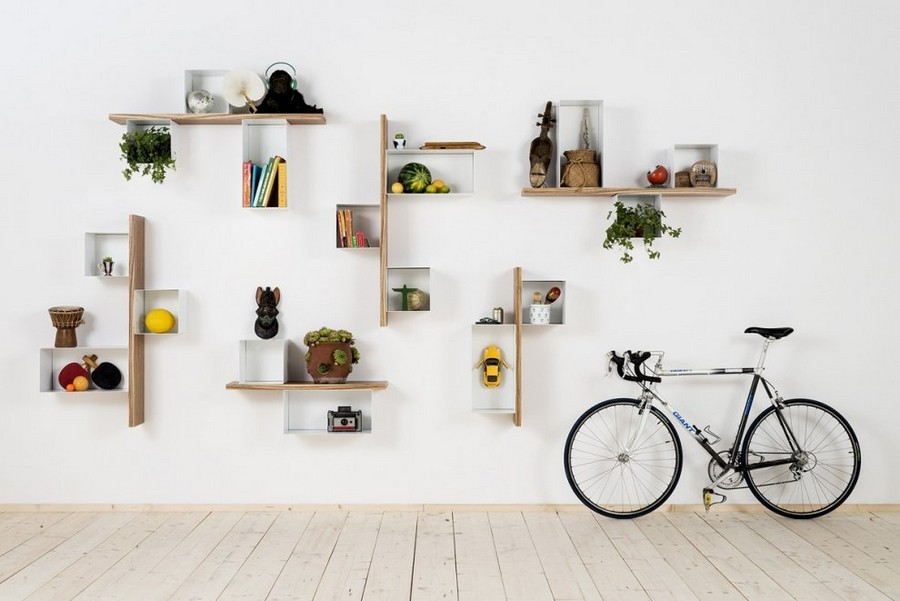 3-1-shelves-creative-shelving-units-geometrical-white-light-wood-Scandinavian-style-bicycle-whitewashed-floor