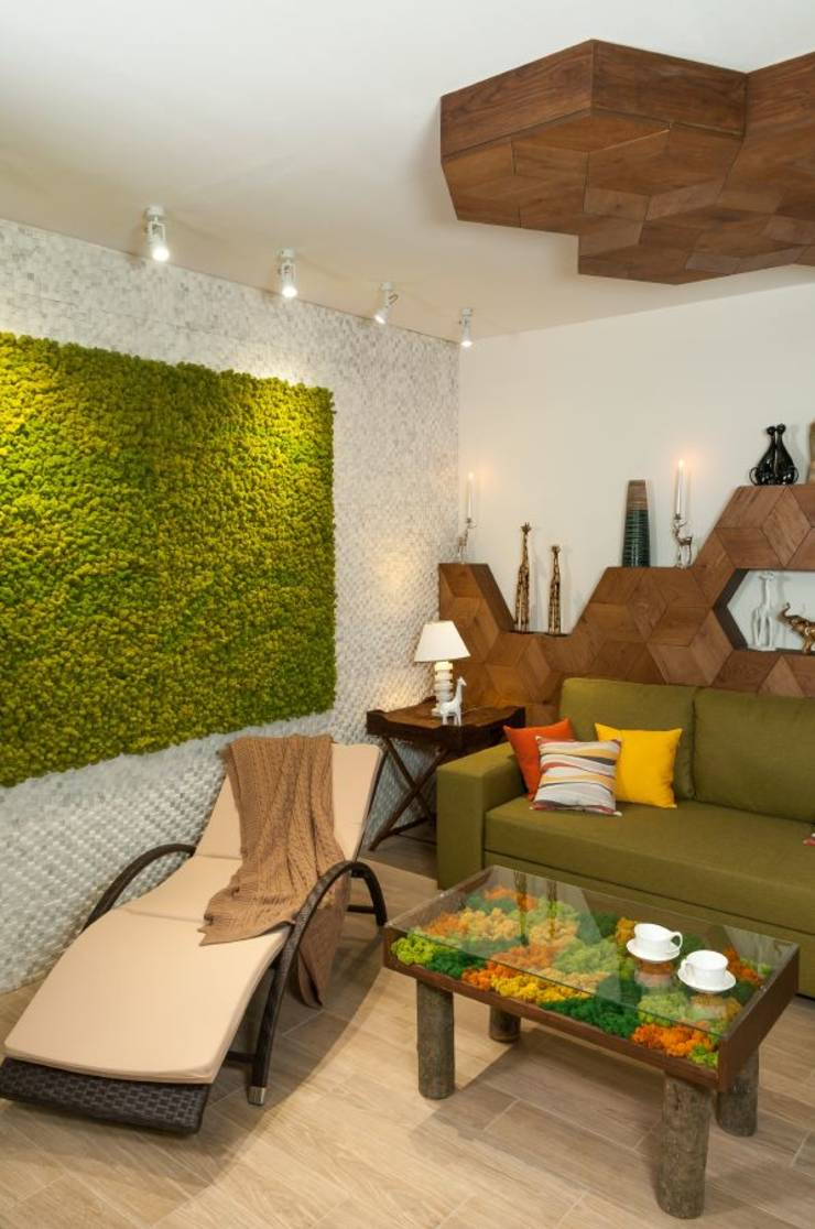Home Interior Design For Living Room: Living Moss In Interior Design: 25 Ideas And Care Tips