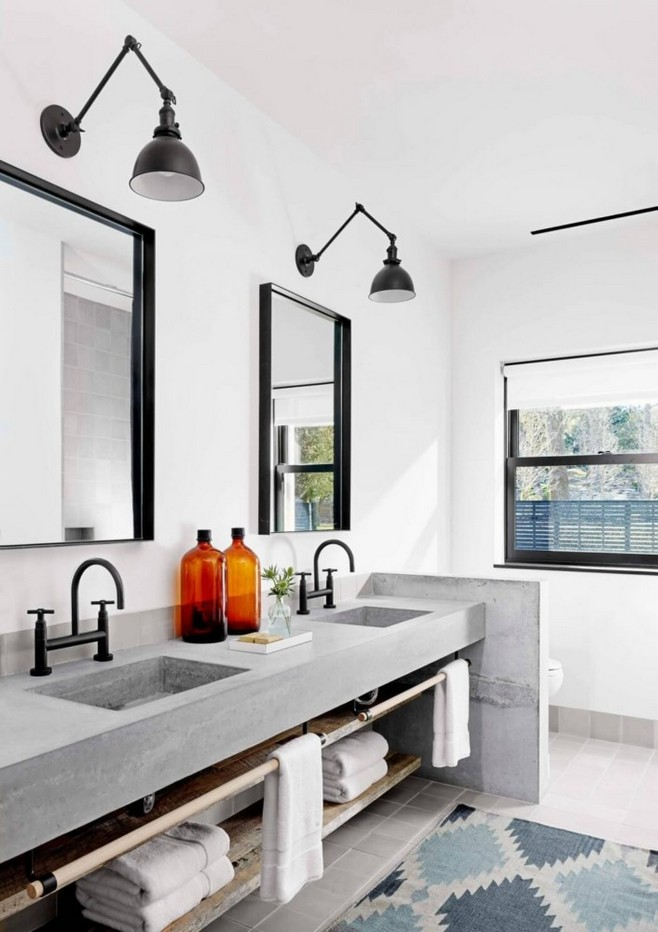 3-2-minimalism-minimalist-style-interior-design-decor-white-walls-bathroom-black-lamps-mirror-window-blue-gray-accents-rug-double-sink-wash-basin-geometrical-pattern-motifs-towels-wooden-racks