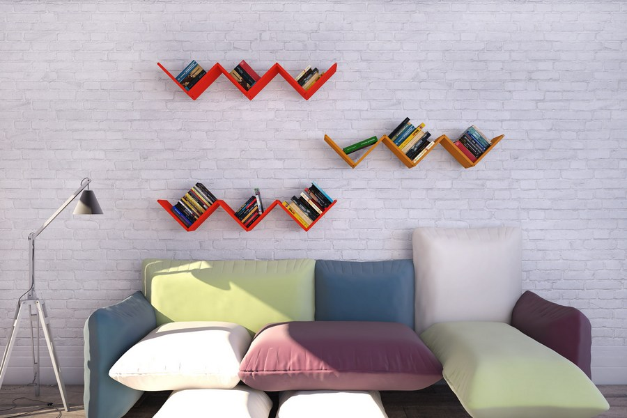 3-3-shelves-decoration-of-bookshelves-decor-ideas-red-painted-geometrical-broken-line