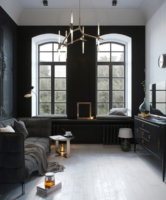 3-black-walls-black-walled-room-in-interior-design-wall-moldings-living-room-gray-sofa-TV-set-arch-shaped-windows