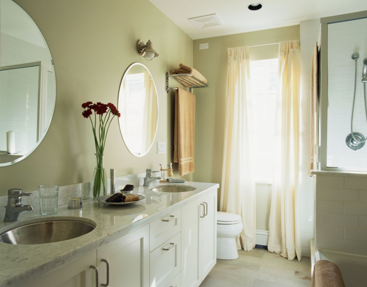 3-light-beige-bathroom-interior-design-white-vanity-unit-double-sink-two-wash-basins-round-mirrors-toilet-WC-shower-window-sheer-curtains-ceiling-mounted-electric-exhaust-ventilator-fan