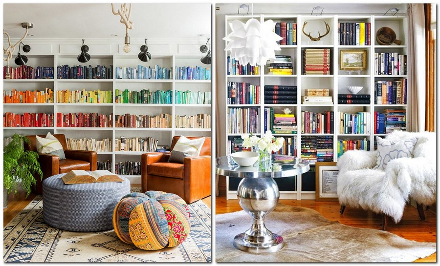 4-1-shelves-decoration-of-bookshelves-decor-ideas-home-library-cozy-ethnic-living-room-ottoman-leather-chairs-books-displayed-according-to-colors