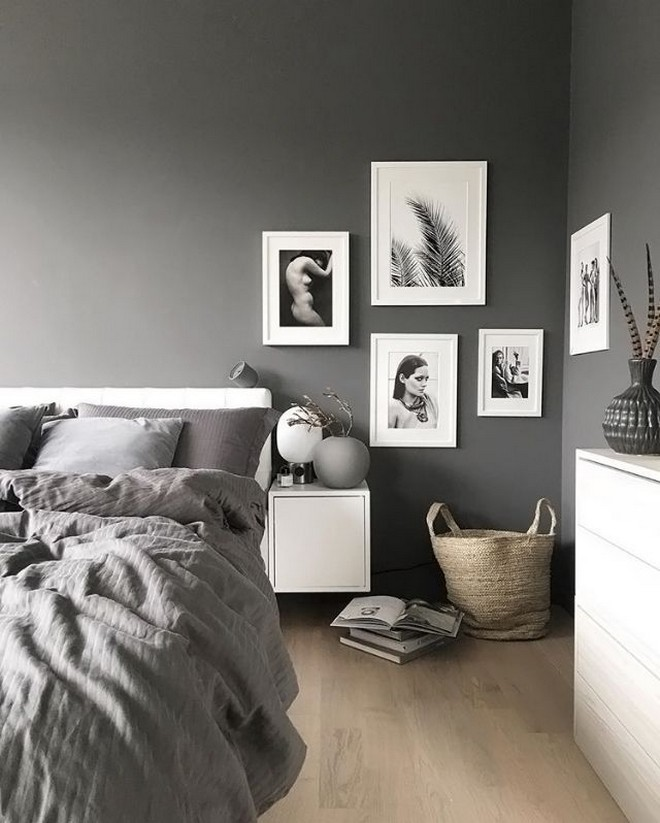 4-black-walls-black-walled-room-in-interior-design-white-chest-of-drawers-wall-mounted-nightstand-gray-bed-linen-bedroom