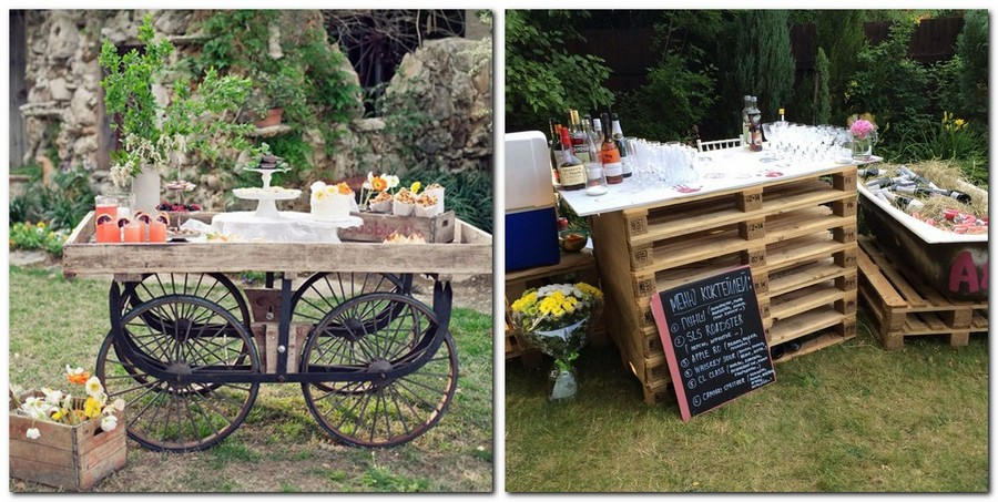 5-1-outdoor-wedding-in-the-garden-decoration-ideas-beautiful-decor-vintage-style-card-handmade-bouffet-table-old-pallets-reuse-idea-table-bar