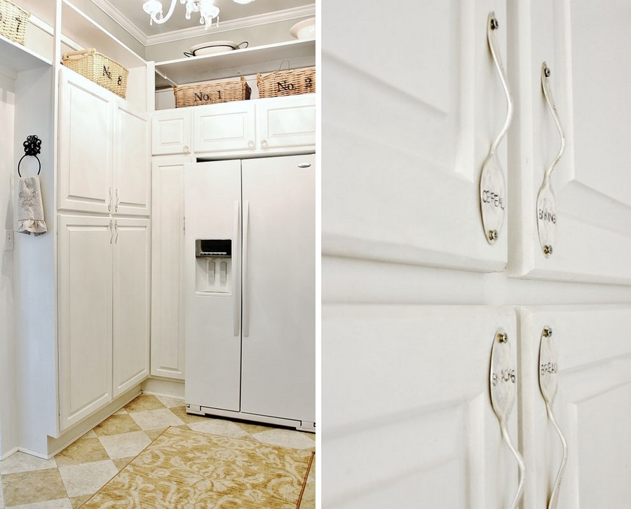 Diy original handmade furniture handles from table spoons for Building kitchen cabinets on site