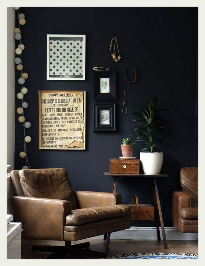 5-black-walls-black-walled-room-in-interior-design-living-room-old-brown-leather-arm-chair-wooden-coffee-table-wall-art
