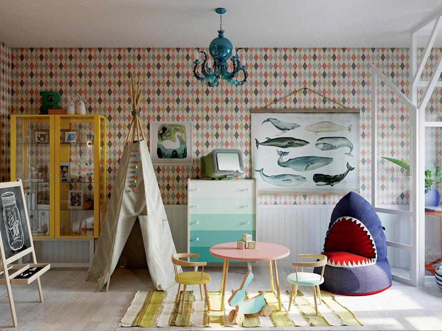 5-kid's-room-in-circus-style-geometrical-diamond-pattern-wallpaper-shark-shaped-arm-chair-small-round-table-chairs-chest-of-drawers-with-ombre-effect-teepee-wigwam-chalkboard-glass-display-cabinet