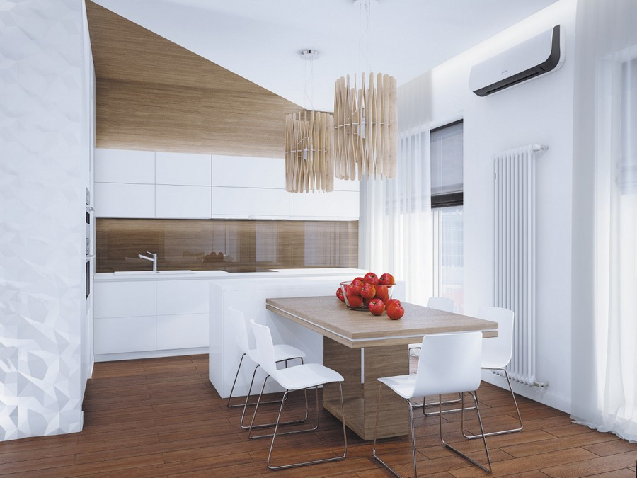 5-open-plan-minimalist-style-room-kitchen-dining-area-interior-white-3D-walls-wooden-table-pendant-lamps-faux-wood-PVC-wall-panels-tempered-glass-backsplash-white-cabinets-air-conditioner