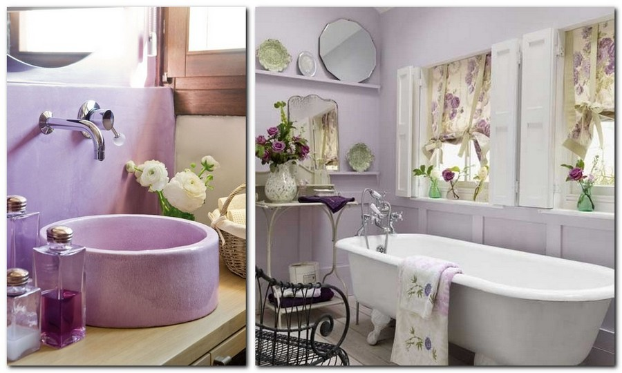 6-3-lilac-grey-color-in-interior-design-bathroom-walls-accessories-towels-flowers-roman-blinds-top-mounted-sink-wash-basin-liquid-soap-dispenser-Provence-style